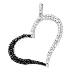 0.30 CTW Black Color Diamond Heart Outline Pendant 10KT White Gold - REF-24W2K