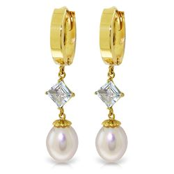 Genuine 9.5 ctw Pearl & Aquamarine Earrings Jewelry 14KT Yellow Gold - REF-54H6X