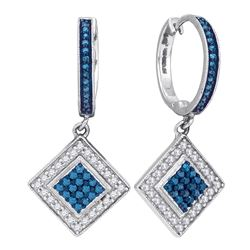 0.50 CTW Blue Color Diamond Square Dangle Earrings 10KT White Gold - REF-30M2H