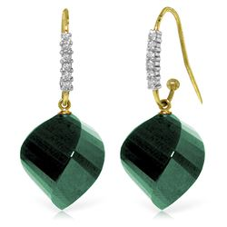 Genuine 30.68 ctw Green Sapphire Corundum & Diamond Earrings Jewelry 14KT Yellow Gold - REF-67F3Z