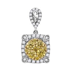 0.78 CTW Canary Yellow Diamond Square Cluster Pendant 14KT White Gold - REF-82K4W