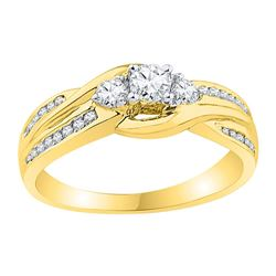 0.50 CTW 3-stone Diamond Bridal Wedding Engagement Ring 10KT Yellow Gold - REF-52K4W
