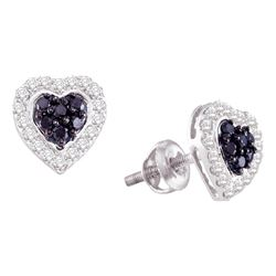 0.33 CTW Black Color Diamond Heart Screwback Earrings 10KT White Gold - REF-26X9Y