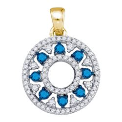 0.50 CTW Blue Color Diamond Circle Cutout Pendant 10KT Yellow Gold - REF-26X9Y