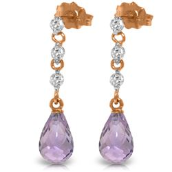 Genuine 3.3 ctw Amethyst & Diamond Earrings Jewelry 14KT Rose Gold - REF-42N9R