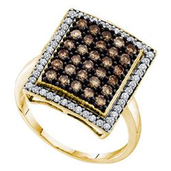 1.03 CTW Cognac-brown Color Diamond Rectangle Cluster Ring 10KT Yellow Gold - REF-52W4K
