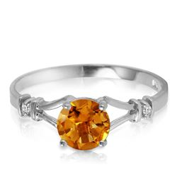 Genuine 1.02 ctw Citrine & Diamond Ring Jewelry 14KT White Gold - REF-28N3R