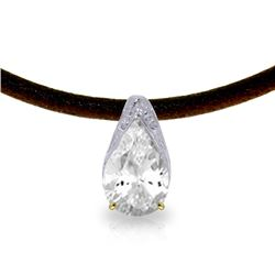 Genuine 6 ctw White Topaz Necklace Jewelry 14KT Yellow Gold - REF-30M5T