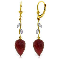Genuine 26.12 ctw Ruby & Diamond Earrings Jewelry 14KT Yellow Gold - REF-53F6Z