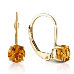 Genuine 1.20 ctw Citrine Earrings Jewelry 14KT Yellow Gold - REF-23V2W