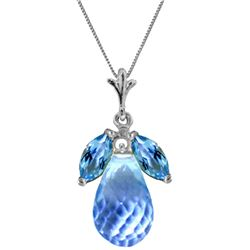Genuine 7.2 ctw Blue Topaz Necklace Jewelry 14KT White Gold - REF-30V5W