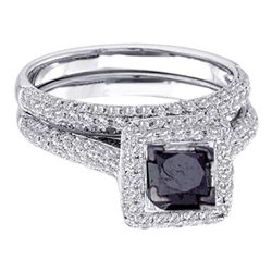 1.25 CTW Princess Black Color Diamond Bridal Ring 14KT White Gold - REF-85H4M