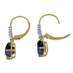 Genuine 3.15 ctw Sapphire & Diamond Earrings Jewelry 14KT Rose Gold - REF-52Y3F
