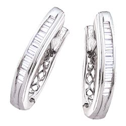 0.47 CTW Diamond Hoop Earrings 10KT White Gold - REF-34K4W