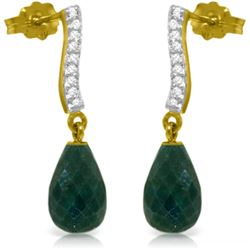 Genuine 6.88 ctw Green Sapphire Corundum & Diamond Earrings Jewelry 14KT Yellow Gold - REF-47Y3F