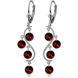 Genuine 4.95 ctw Garnet Earrings Jewelry 14KT White Gold - REF-53X8M