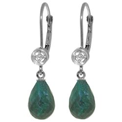 Genuine 6.63 ctw Green Sapphire Corundum & Diamond Earrings Jewelry 14KT White Gold - REF-29P7H