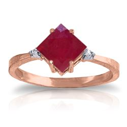 Genuine 1.46 ctw Ruby & Diamond Ring Jewelry 14KT Rose Gold - REF-32Z3N