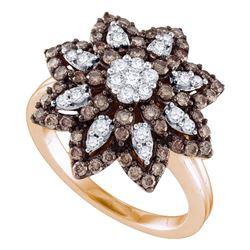 1.05 CTW Cognac-brown Color Diamond Flower Cluster Ring 10KT Rose Gold - REF-75N2F