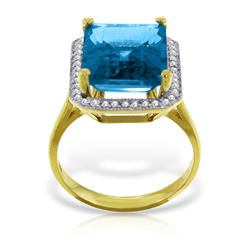 Genuine 7.8 ctw Blue Topaz & Diamond Ring Jewelry 14KT Yellow Gold - REF-84W3Y