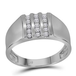 0.25 CTW Mens Channel-set Diamond Triple Row Wedding Ring 10KT White Gold - REF-30X2Y