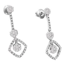 0.75 CTW Diamond Flower Cluster Dangle Screwback Earrings 14KT White Gold - REF-75N2F