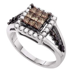 1 CTW Princess Cognac-brown Color Diamond Cocktail Ring 14KT White Gold - REF-75W2K