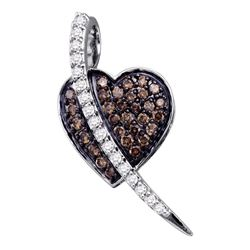 0.50 CTW Cognac-brown Color Diamond Heart Love Pendant 10KT White Gold - REF-25X4Y