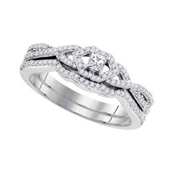 0.33 CTW Princess Diamond Bridal Engagement Ring 10KT White Gold - REF-41W9K