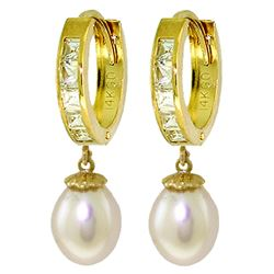 Genuine 9.3 ctw White Topaz & Pearl Earrings Jewelry 14KT Yellow Gold - REF-44R4P