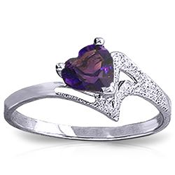 Genuine 0.75 ctw Amethyst Ring Jewelry 14KT White Gold - REF-35Z9N