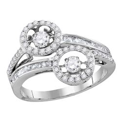 0.85 CTW Diamond Moving 2-stone Hearts Together Bridal Ring 10KT White Gold - REF-71X9Y