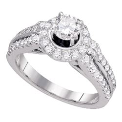 1.24 CTW Diamond Solitaire Bridal Engagement Ring 14KT White Gold - REF-224K9W