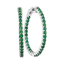 2.5 CTW Emerald In/Out Hoop Earrings 14KT White Gold - REF-109N4F