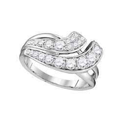 1 CTW Diamond Double Row Crossover Ring 14KT White Gold - REF-104Y9X