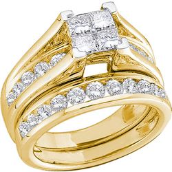 1 CTW Princess Diamond Bridal Engagement Ring 14KT Yellow Gold - REF-97N4F