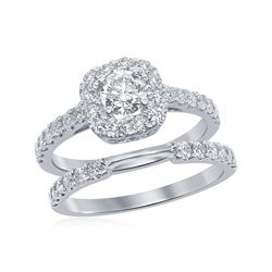 1.5 CTW Diamond Halo Bridal Engagement Ring 14KT White Gold - REF-232N4F
