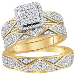 0.75 CTW His & Hers Diamond Cluster Matching Bridal Ring 10KT Yellow Gold - REF-67K4W