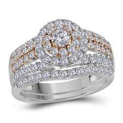 1.5 CTW Diamond Double Halo Rose-tone Bridal Engagement Ring 14KT White Gold - REF-134X9Y
