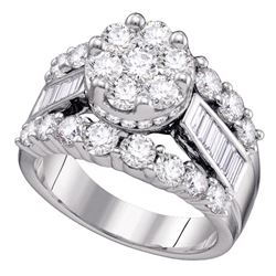 4 CTW Diamond Cluster Bridal Engagement Ring 14KT White Gold - REF-524Y9X