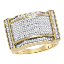 0.77 CTW Mens Diamond Arched Rectangle Cluster Ring 10KT Yellow Gold - REF-82F5N