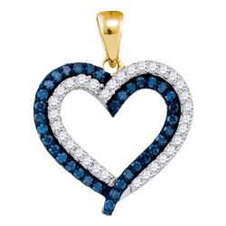 1 CTW Blue Color Diamond Heart Outline Pendant 10KT Yellow Gold - REF-41H9M