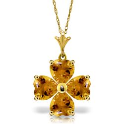 Genuine 3.8 ctw Citrine Necklace Jewelry 14KT Yellow Gold - REF-42T2A