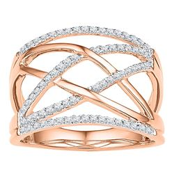 0.33 CTW Diamond Crisscross Crossover Ring 10KT Rose Gold - REF-30F2N