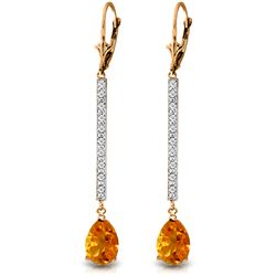 Genuine 3.6 ctw Citrine & Diamond Earrings Jewelry 14KT Rose Gold - REF-60Z4N