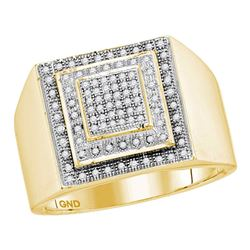 0.30 CTW Mens Diamond Square Cluster Ring 10KT Yellow Gold - REF-44K9W