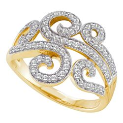 0.50 CTW Diamond Curled Swirl Fashion Ring 14KT Yellow Gold - REF-57K2W