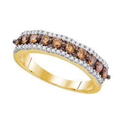0.60 CTW Cognac-brown Color Diamond Ring 10KT Yellow Gold - REF-36W2K
