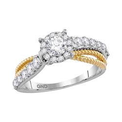 1 CTW Diamond Solitaire Roped Bridal Engagement Ring 14KT White Gold - REF-149H9M