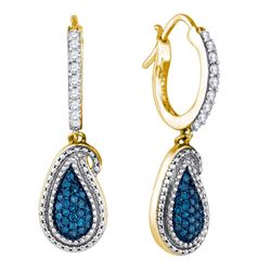 0.48 CTW Blue Color Diamond Teardrop Cluster Dangle Earrings 10KT Yellow Gold - REF-37N5F